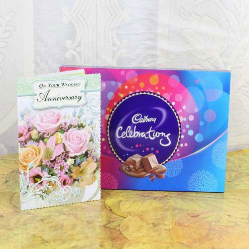 Anniversary Card for Cute Couple With Cadbury Celebration Box
