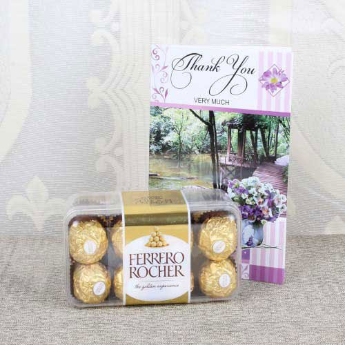 Thank You Card with Ferrero Rocher Chocolate Box