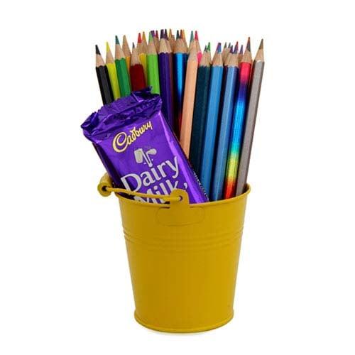 Pencils Pack In Bucket