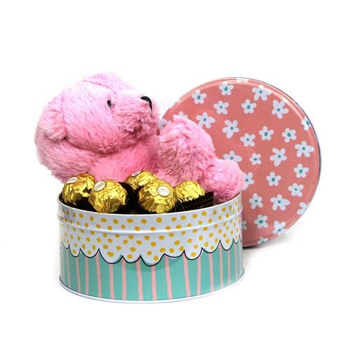 Cute Pink Teddy N Chocolates