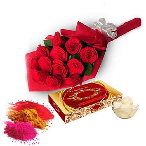 Roses with Rasgulla-Holi