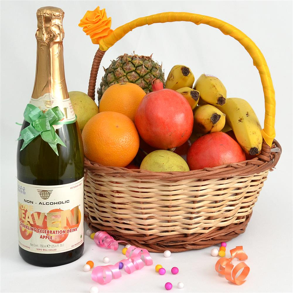 Enigmatic Basket with Fruit Champagne