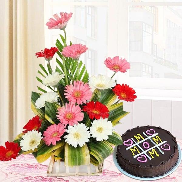 Mix Gerbera Arrangement With Cake For Mom