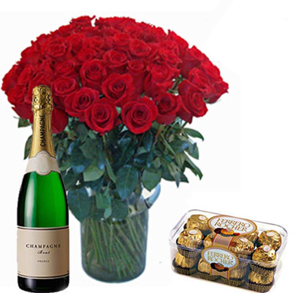 FIFTY RED ROSES VASE WITH FERRERO ROCHER CHOCOLATE AND CHAMPAGNE BOTTLE