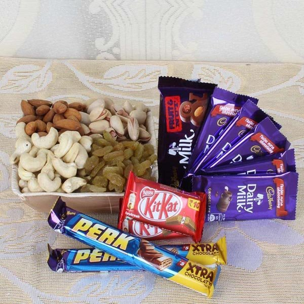 Dry Fruits in Box 500 Grams and Chocolates Combo