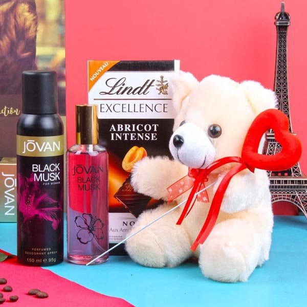 Lindt Chocolates Teddy Bear with Jovan Black Musk Perfum and Deodorant for Women