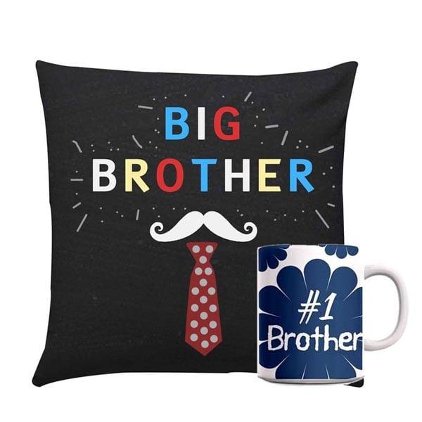 Big Brother Cushion With Blue Mug Rakhi