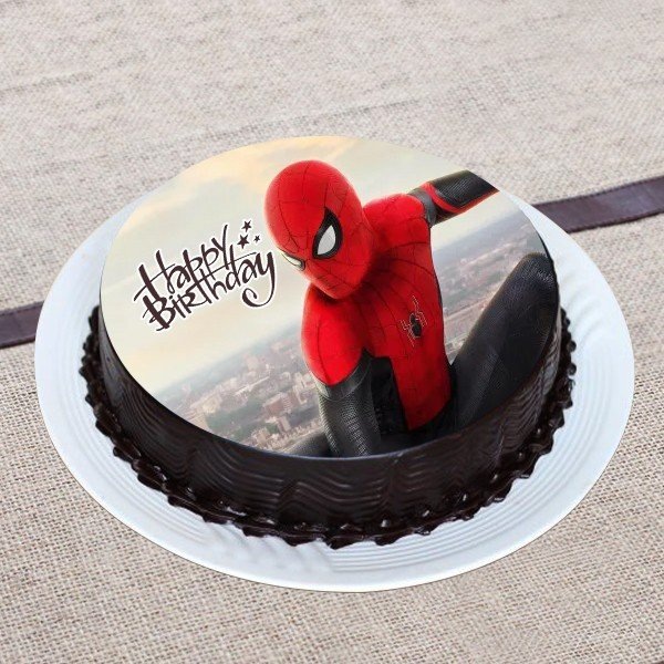 Spiderman on Chocolate Photo Cake