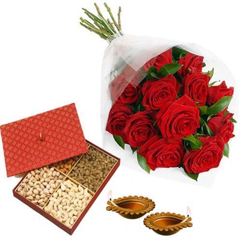 Red Roses and Dryfruits Diwali Charm