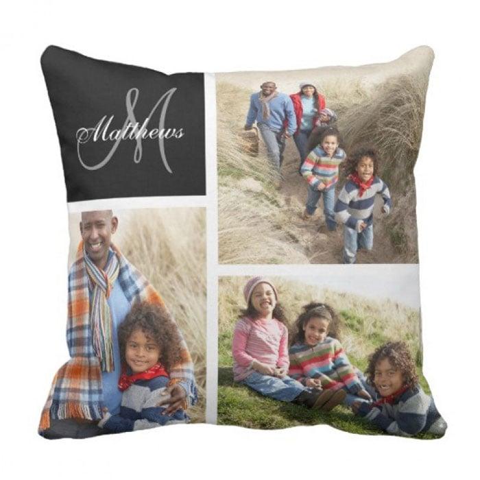 Custom Monogram Black Photo Collage Pillow