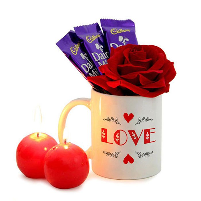 Love Mug and Red Candles Combo with Rose and Chocolates