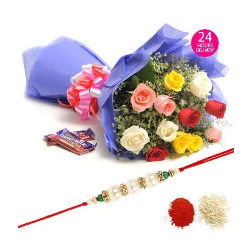 Mix Roses N Chocolates-Rakhi