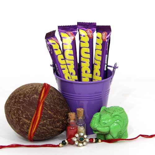 Choco Bucket n Kundan Rakhi