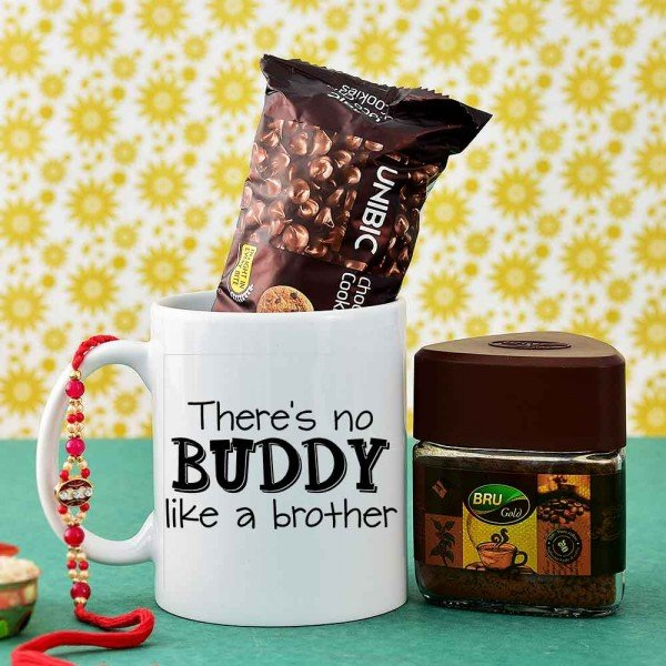 Stylish Rakhi With Coffee Hamper For Brother