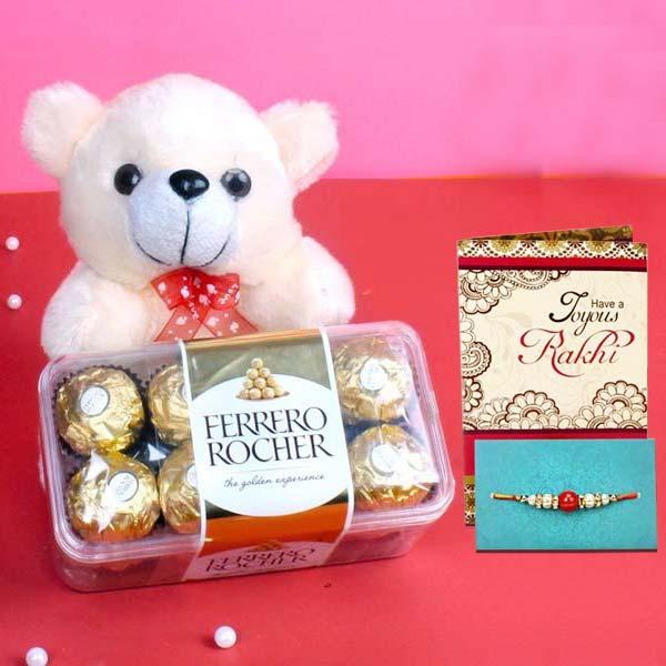 Rakhi Teddy with Ferrero Rocher Chocolate
