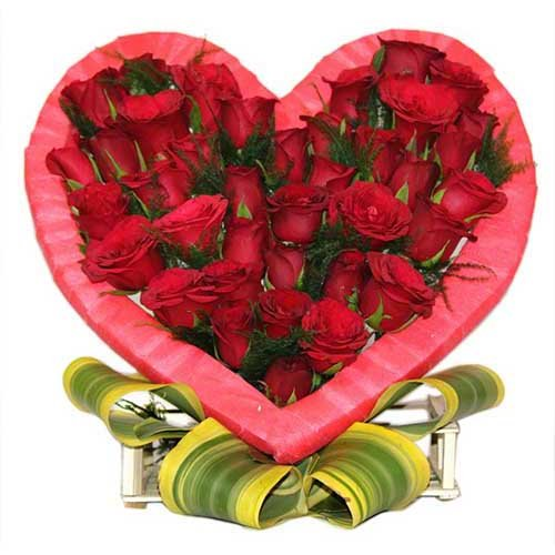 Red Roses In Heart