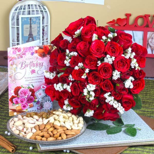 Red Roses with Assorted Dryfruit and Birthday Greeting Card