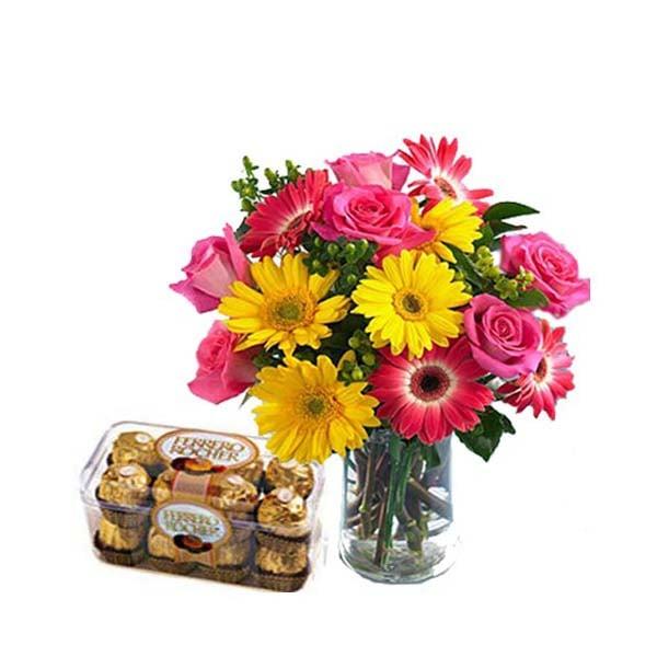 Bright full Flowers with Ferrero Rocher