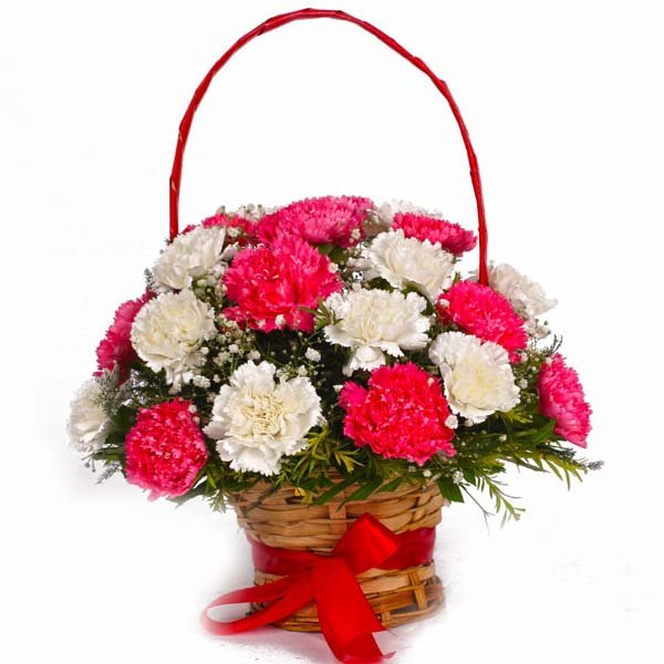 Basket of  Pink and White Carnations