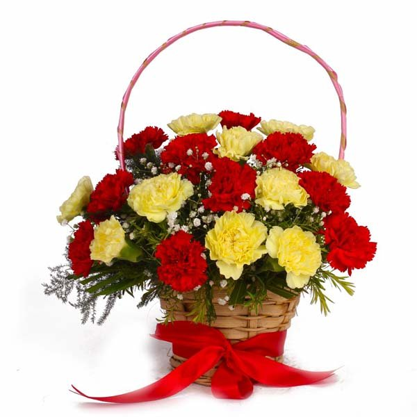 Red and Yellow Carnations Basket Arrangement