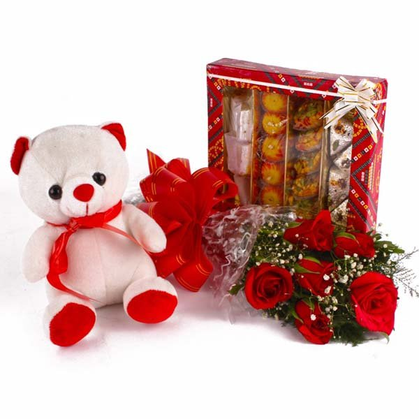 Assorted Sweet Box with Red Roses and Teddy Bear Combo