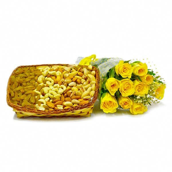 Basket of 1 Kg Assorted Dryfruits with 10 Yellow Roses Bunch