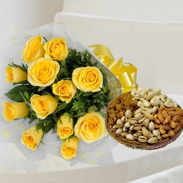 Birthday Flowers and Dry Fruits Online
