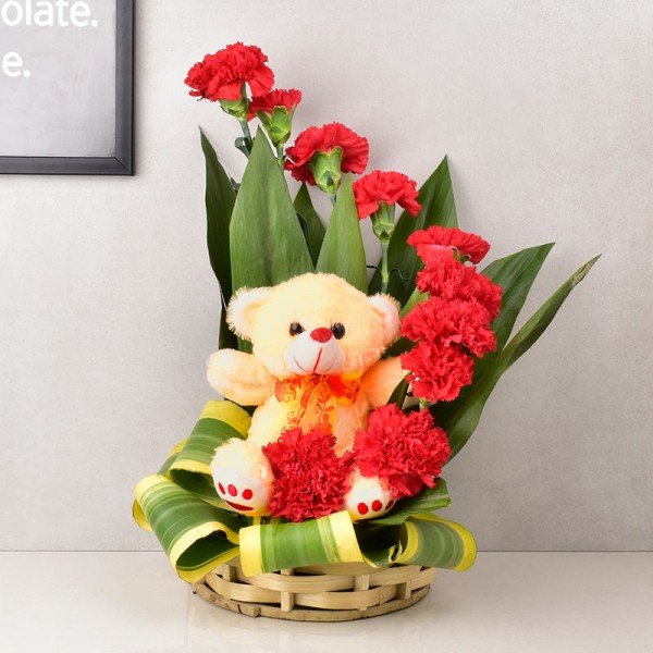 Flwers and Teddy Bear online