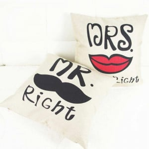 Mr Right Moustache And Mrs Always Right Red Lips Couple Cushions