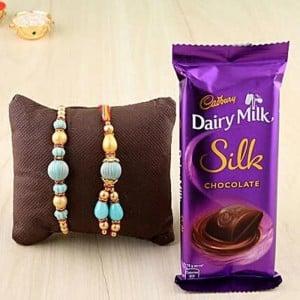 1 Silk with Rakhi Combo