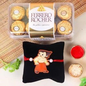 Chota Bheem Rakhi With 16 Ferrero Rochers