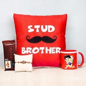 Stud Bro Cushion With Mug Chocolate Rakhi Combo