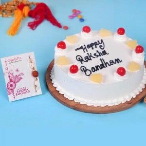 Pineapple Cake With Designer Rakhi Combo