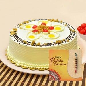 Butterscotch cake with Elegant Rakhi