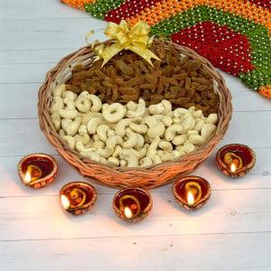 Basket of Dry Fruits and Diyas