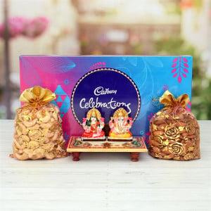 Marbel Laxmi Ganesh with Dry Fruits