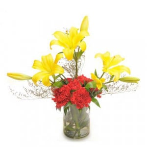 Carnations N Lilies Arrangement