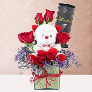 Vase of Teddy with Red Roses and Bournville Chocolate