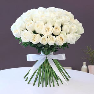 50 White Rose Bouquet