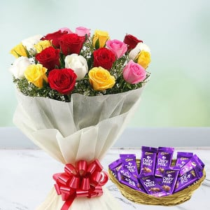 Dairy Milk Basket With Mix Roses