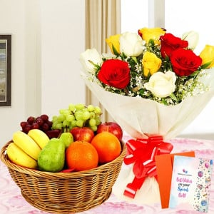 Assorted Roses Fruity Combo