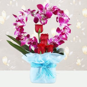 Heart Shaped Orchids and Roses