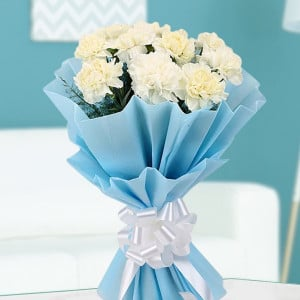 Peaceful White Carnations