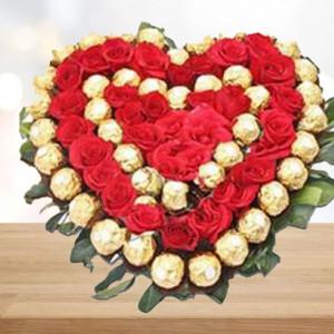 Roses with Ferrero Rocher Heart