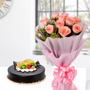 Pink Roses with Chocolate Fruit Cake