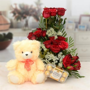Red Rose Basket With Cream Teddy & Chocolate