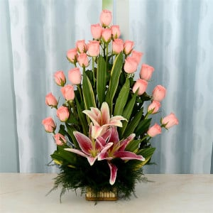 Pink Basket of Roses and Lily