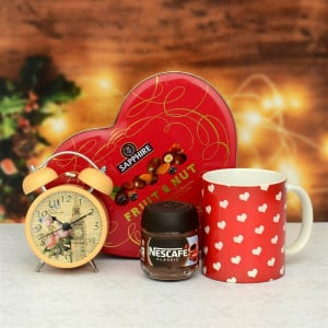 Heart Shape Chocolate & Alarm Clock Hamper