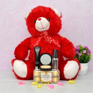 Red Teddy with Chocolates and Cosmetics