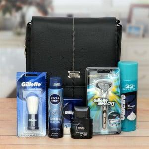 Gellette Shaving Kit With Sling Bag Combo